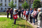 Gruppe von HÖREX Mitglieder zusammen mit Stadtführerin von Heidelherz.